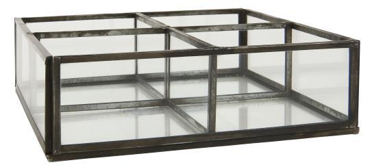 Glasbox mit 4 Fächern