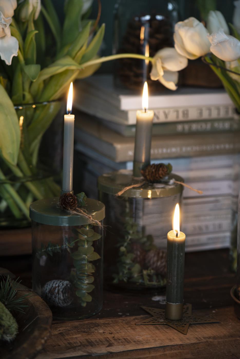 Kerzenhalter mit Metalldeckel für Stabkerze