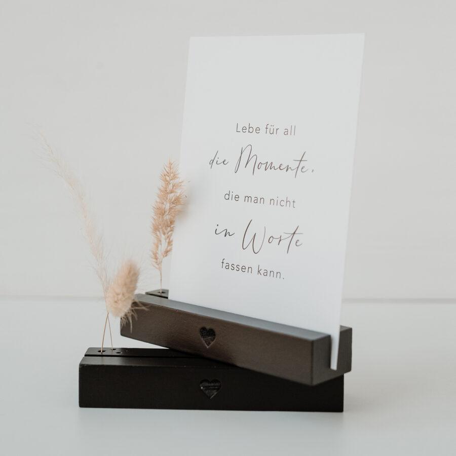 """Karten- und Blumenständer """"Schwarz mit Herz"""""""