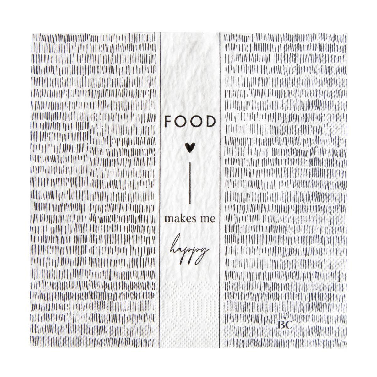 """Serviette """"Food makes me happy"""""""