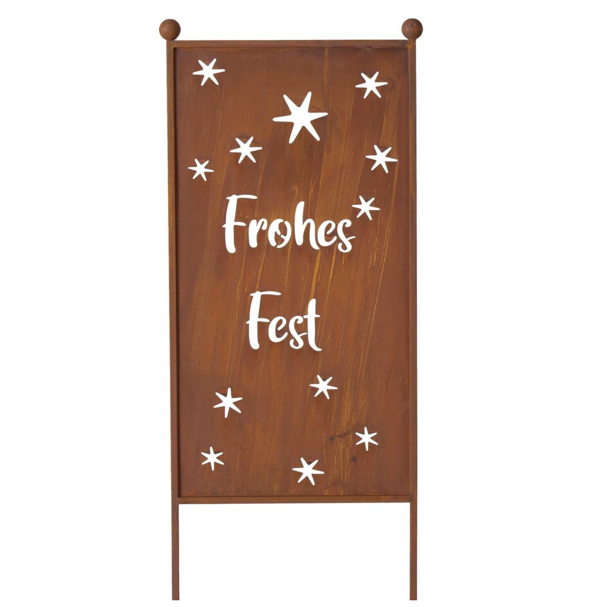 """Gartenschild """"Rosty - Frohes Fest"""""""